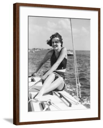 Woman in Swimsuit, on Sailing Boat, Holding Rope, Smiling-H^ Armstrong Roberts-Framed Photographic Print