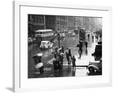 Traffic and People on Rainy City Street-George Marks-Framed Photographic Print