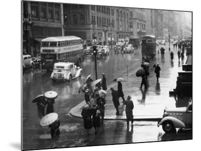 Traffic and People on Rainy City Street-George Marks-Mounted Photographic Print