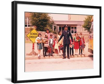 Group of Children at Curb in Front of School, Waiting For Signal From Policeman-H^ Armstrong Roberts-Framed Photographic Print