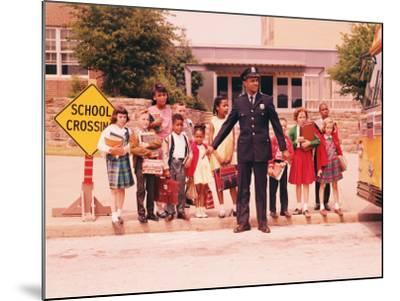 Group of Children at Curb in Front of School, Waiting For Signal From Policeman-H^ Armstrong Roberts-Mounted Photographic Print