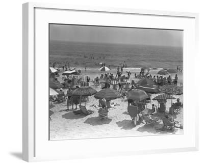 People Relaxing on Beach, Elevated View-George Marks-Framed Photographic Print