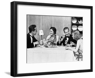Two Couples Wearing Formal Dress, Sitting at Table Eating and Talking-H^ Armstrong Roberts-Framed Photographic Print