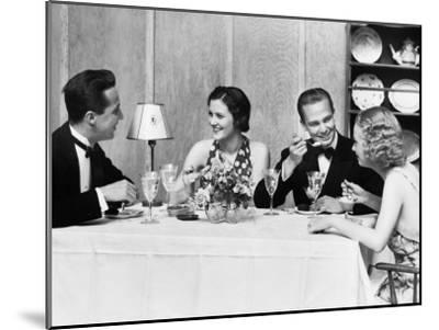 Two Couples Wearing Formal Dress, Sitting at Table Eating and Talking-H^ Armstrong Roberts-Mounted Photographic Print