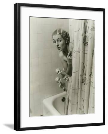 Woman Peeking From Behind Shower Curtain-George Marks-Framed Photographic Print