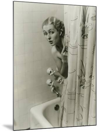 Woman Peeking From Behind Shower Curtain-George Marks-Mounted Photographic Print