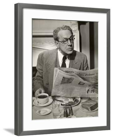 Businessman Reading Paper at Breakfast-George Marks-Framed Photographic Print