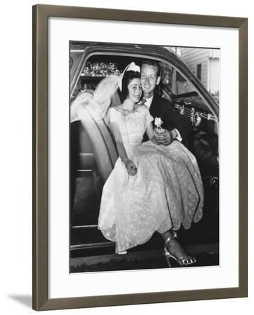 Bride and Groom Posing in Car, Portrait-George Marks-Framed Photographic Print