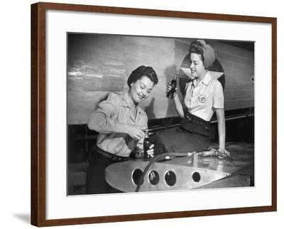 Female Aircraft Workers Having a Snack-George Marks-Framed Photographic Print