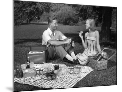 Couple Outdoors Having a Picnic-George Marks-Mounted Photographic Print
