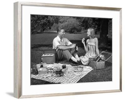 Couple Outdoors Having a Picnic-George Marks-Framed Photographic Print