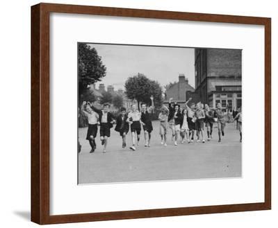 Cheering Children--Framed Photographic Print