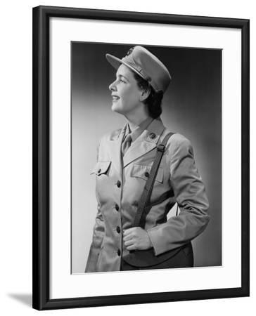 Woman Wearing Military Uniform-George Marks-Framed Photographic Print