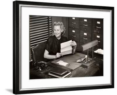 Woman Executive at Her Desk-George Marks-Framed Photographic Print