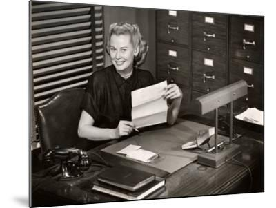 Woman Executive at Her Desk-George Marks-Mounted Photographic Print