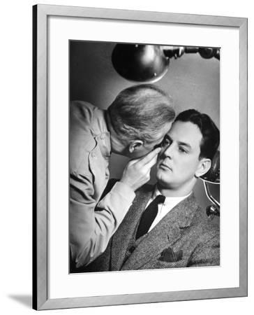 Doctor Examining Patient's Eyes-George Marks-Framed Photographic Print