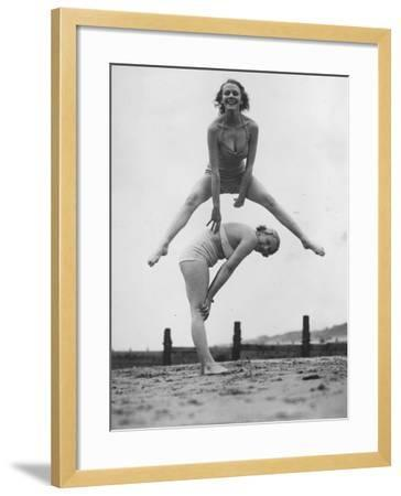 Beach Leap-Frog--Framed Photographic Print