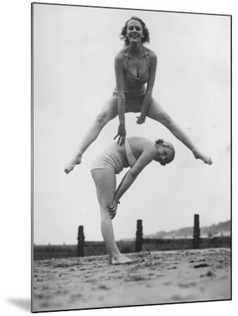 Beach Leap-Frog--Mounted Photographic Print