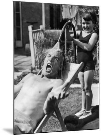 Hosing Down Dad--Mounted Photographic Print