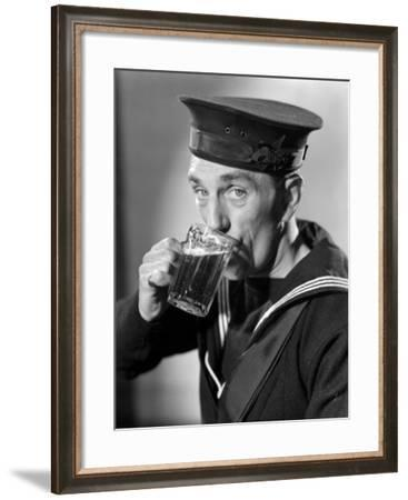 Sailor Drinking Beer--Framed Photographic Print