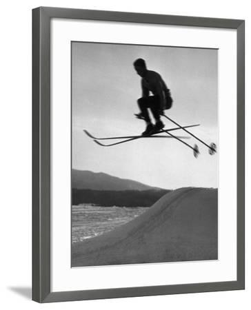 Skier in Mid Air-George Marks-Framed Photographic Print