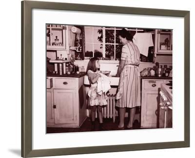 Mother and Daughter (8-10) Washing and Wiping Dishes--Framed Photographic Print