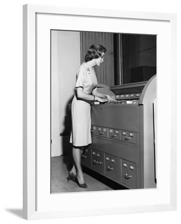 Woman Filing--Framed Photographic Print