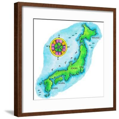 Map of Japan-Jennifer Thermes-Framed Photographic Print