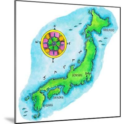 Map of Japan-Jennifer Thermes-Mounted Photographic Print