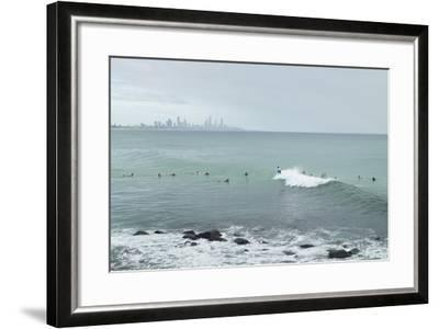Surfing Early Morning , Queensland , Australia-Southern Stock-Framed Photographic Print