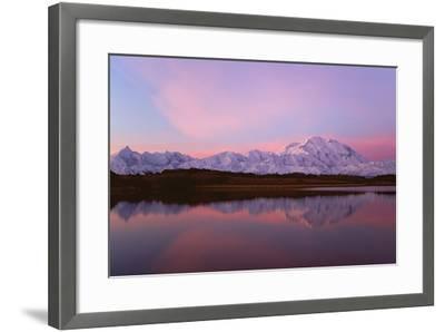 Sunset, Mount Mckinley in Denali National Park, Alaska Reflected in Reflection Pond.-Mint Images - David Schultz-Framed Photographic Print