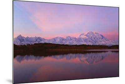Sunset, Mount Mckinley in Denali National Park, Alaska Reflected in Reflection Pond.-Mint Images - David Schultz-Mounted Photographic Print
