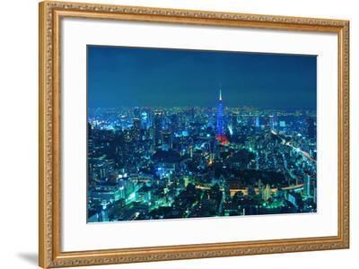 Blue Tokyo Night-Copyright Artem Vorobiev-Framed Photographic Print