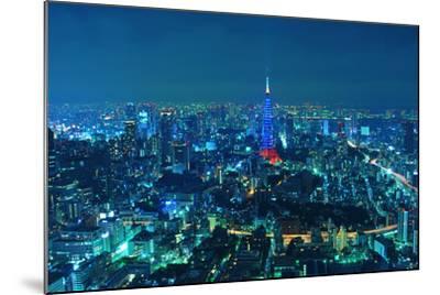 Blue Tokyo Night-Copyright Artem Vorobiev-Mounted Photographic Print