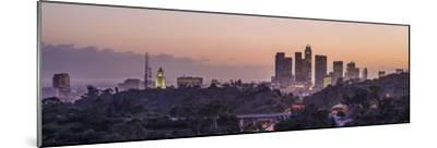 Panoramic View of Downtown Los Angeles at Sunset-Taesam Do-Mounted Photographic Print