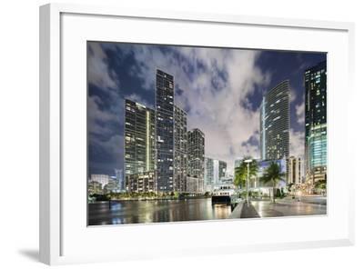 Miami River Cityscape at Dusk-Raimund Koch-Framed Photographic Print