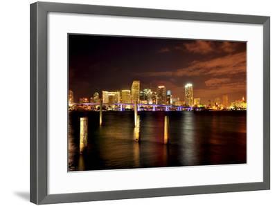 Miami Skyline at Night-Shobeir Ansari-Framed Photographic Print