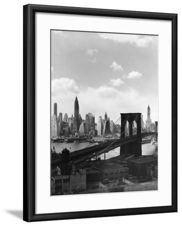 Brooklyn Bridge and Manhattan Skyline-Frederic Lewis-Framed Photographic Print