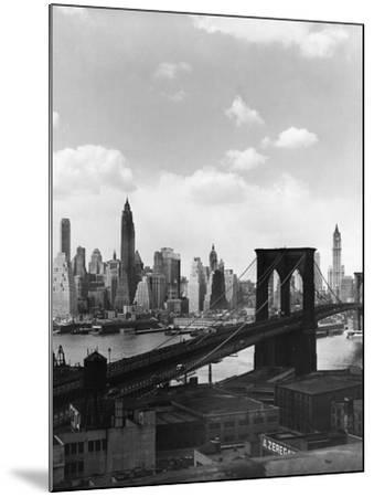 Brooklyn Bridge and Manhattan Skyline-Frederic Lewis-Mounted Photographic Print