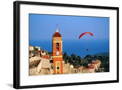 Paraglider Soaring past Tower of Colourful Village Church, Alpes-Maritimes, Roquebrune, Provence-Al-David Tomlinson-Framed Photographic Print