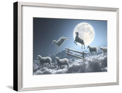 Sheep Jumping over Fence in a Cloudy Moon Scene-Dieter Spannknebel-Framed Photographic Print