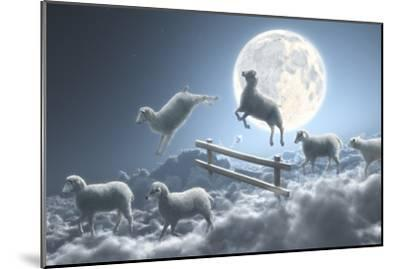 Sheep Jumping over Fence in a Cloudy Moon Scene-Dieter Spannknebel-Mounted Photographic Print