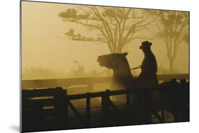 Silhouette of Man Riding Horse at Dusk-Nicolas Russell-Mounted Photographic Print