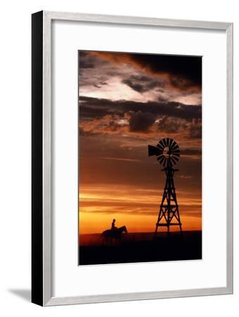 Man on Horse, Riding past Wind Turbine, Silhouetted at Sunset-Kathi Lamm-Framed Photographic Print