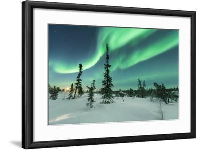 Aurora with Moon Rising-Michael Ericsson-Framed Photographic Print