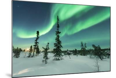 Aurora with Moon Rising-Michael Ericsson-Mounted Photographic Print