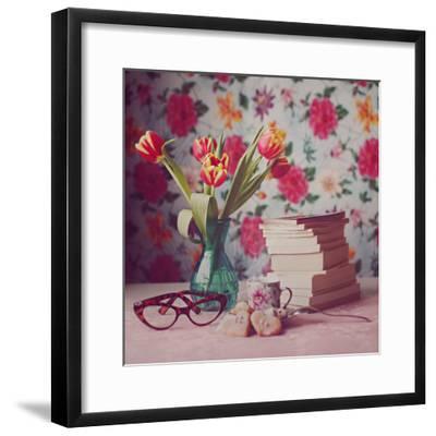 Books and Tulips-Julia Davila-Lampe-Framed Photographic Print
