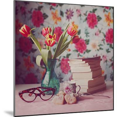Books and Tulips-Julia Davila-Lampe-Mounted Photographic Print