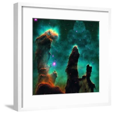 Gaseous Pillars in the Eagle Nebula-Digital Vision.-Framed Photographic Print