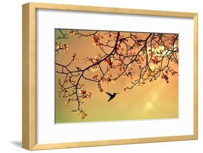 Bird Singing in the Morning Sky-Autumnn-Framed Photographic Print